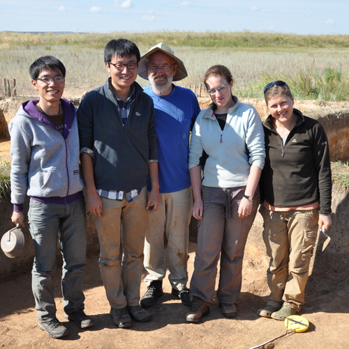 Team members at the Botai excavations